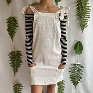 Shoulder Tie Overall Mini Dress